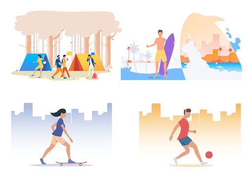 Leisure time outside illustration set. People enjoying camping, surfing, skateboarding, playing football. Sport concept. Vector illustration for posters, banners, flyers