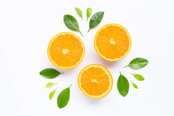 Fresh orange citrus fruit with leaves isolated on white background. Fototapete