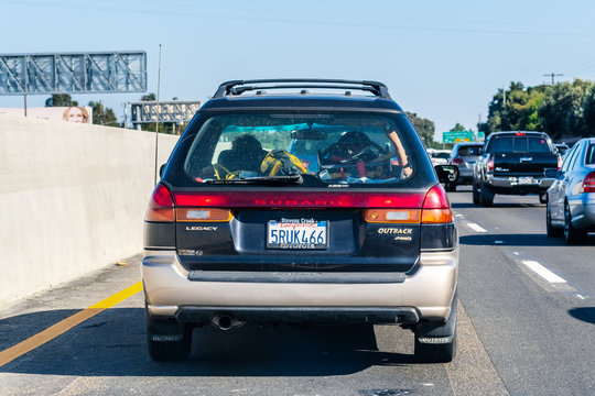 Sep 26, 2019 Mountain View / CA / USA - Subaru Outback driving on the freeway; Rear view of the first generation of Subaru Outback (1996), a variant of the Legacy with heightened suspension