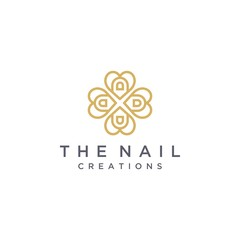 logo design nail care or finger nails with heart