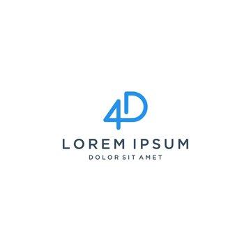 unique design logo or monogram or initials letters 4D