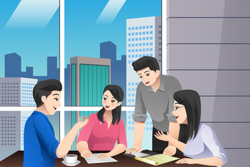 Asian Chinese Business People Teamwork Meeting Vector Illustration