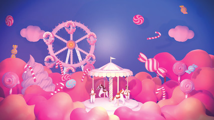 Cartoon amusement park and candy land. 3d rendering picture.