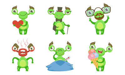 Wall Mural - Funny Little Monster with Various Emotions Set, Green Mutant Cartoon Character in Different Situations Vector Illustration