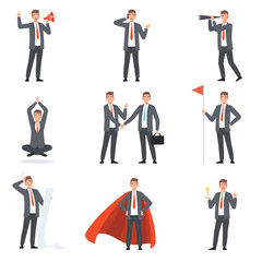 Businessmen characters, people in business suits in different situations vector illustration
