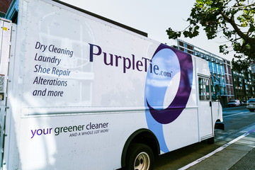Sep 20, 2019 San Francisco / CA / USA - PurpleTie van; PurpleTie offers Dry Cleaning, Laundry and other services to corporate and residential customers in San Francisco and Silicon Valley