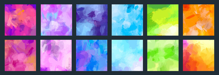 Fotobehang - Big set of bright vector colorful watercolor and acrylic backgrounds for poster, brochure or flyer