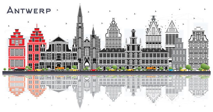 Antwerp Belgium City Skyline with Gray Buildings and Reflections Isolated on White.