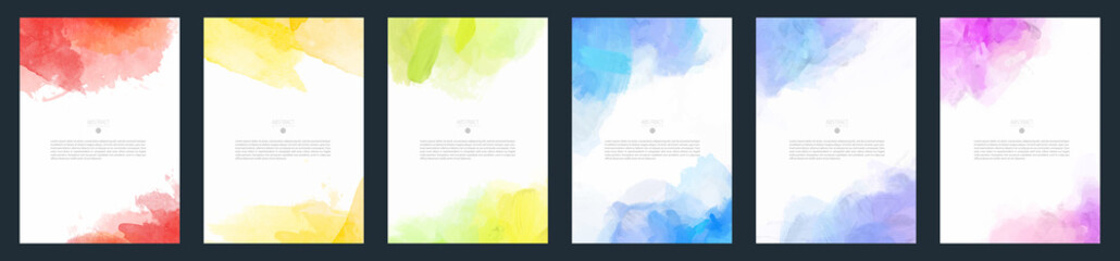 Tuinposter Vormen Set of light colorful vector watercolor A4 backgrounds for poster, brochure or flyer