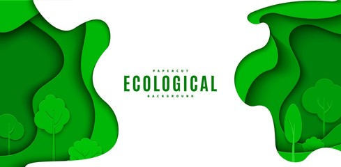 Abstract green flyer in cut paper style. Cutout trees grass wave template for save the Earth posters, ecology brochures, presentations, ienvironmental Protection .Vector horizontal card illustration - fototapety na wymiar