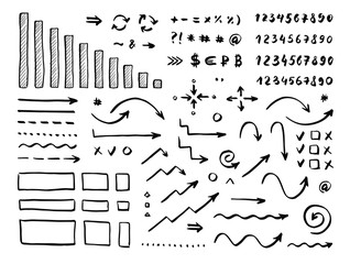 Handwrite elements on white background. Numbers, arrows, symbols and signs