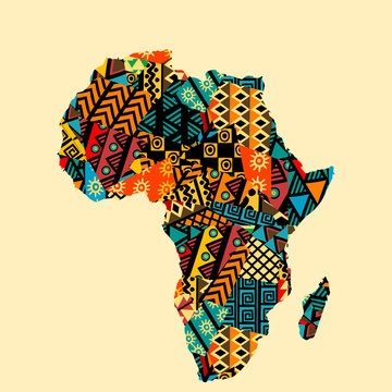 Africa map with ethnic motifs pattern