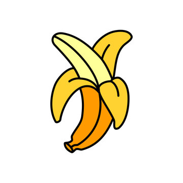 Peeled banana on white background. Banana icon simple sign. Banana icon trendy and modern symbol for graphic and web design. Banana icon flat vector illustration for logo, web, app, UI.