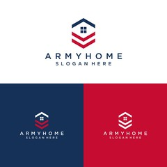 logo design of an army house or a house with an army rank symbol