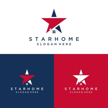 residential design logo or star with home