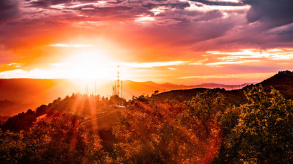 Fiery sunset in the Santa Cruz mountains, on the West coast, San Francisco Bay area; California