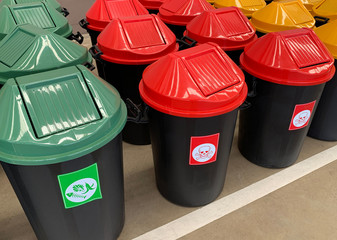 recycle bin yellow blue green and recycle plastic garbage bin to save environment care