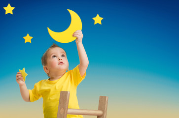 Kid growing or dreaming creative concept