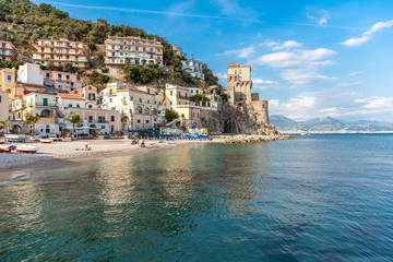 Scenic View of Cetara, beautiful Mediterranean village on Amalfi Coast, Costiera Amalfitana, in Campania, Italy, Naples