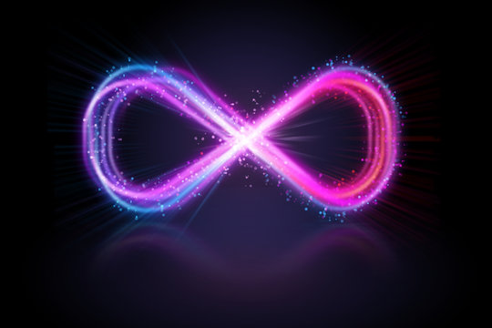Bright pink glowing lemniscate or infifnity sign.