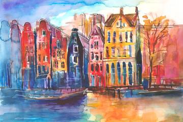 Fototapeta Widok na kamienice i kanał w Amsterdamie namalowany ręcznie farbami akwarelowymi