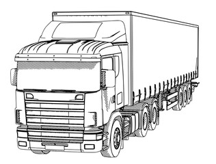 Fototapeten Cartoon draw sketch of a truck with hatching on a white background vector