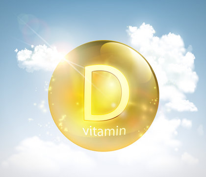Pill vitamin D against the sky with the sun and clouds