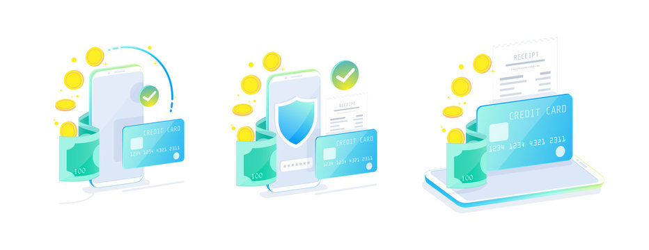 Online Mobile Banking and Internet banking isometric design concept , Cashless society, security transaction via credit card. Set of online payment for web design template vector