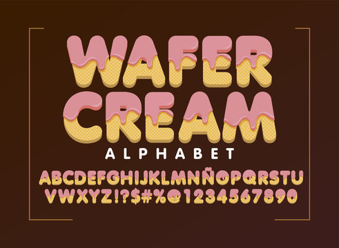 wafer cream alphabet, Ice Pink cream melted decorative letters and numbers