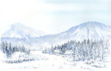雪景色 水彩画