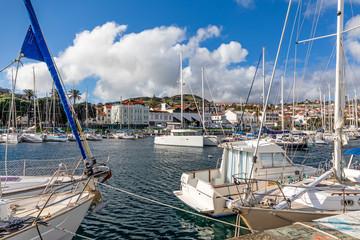 Sailing boats in Horta harbor, Ilha do Faial, Azores, Portugal