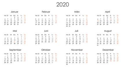 Kalender 2020 Jahresplaner Jahreskalender Kalendervorlage einfach Wall mural