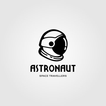 astronaut helmet space travel logo vector design illustration