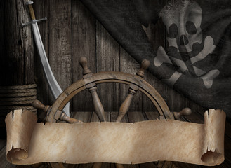 Pirates ship deck with old jolly roger flag and paper scroll or map banner 3d illustration