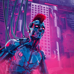The artificial boy / 3D illustration of futuristic metallic science fiction male humanoid cyborg with mohawk hairstyle