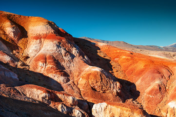 Red mountains in Kyzyl-Chin valley, also called as Mars valley. Altai, Siberia, Russia