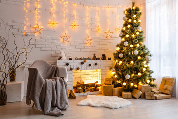 Interior room decorated in Christmas style. No people. Neutral colors. Home comfort of modern home....