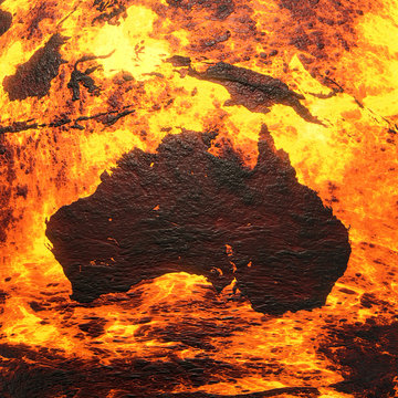 Scorched Australia Continent 3D Rendering