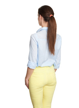 woman back view. Isolated on white background