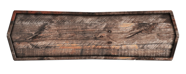Old wooden sign isolated on white