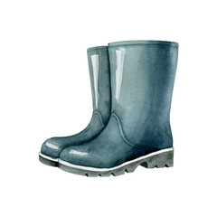 Blue rubber boots isolated on white background. Watercolor illustration, handmade clipart.