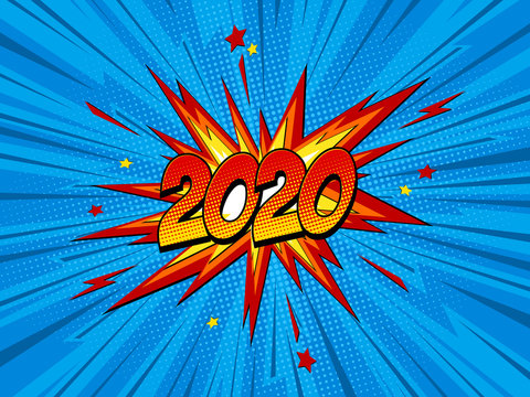 Happy new year 2020 pop art comic festive poster or greetings card with lightning blast and halftone dots.