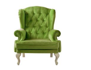 Fototapeta Isolated bottle green armchair. Vintage armchair. Insulated furniture. Bottle green chair. Bottle green velvet armchair obraz