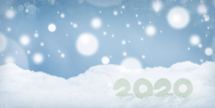 2020 New Year on snow