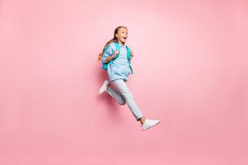 Full length body size photo of cheerful positive ecstatic overjoyed girl running towards sales she...