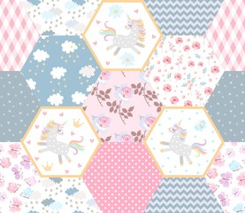 Fairytale patchwork seamless pattern with cute unicorns, clouds with stars, flowers and ornamental patches. Print for baby fabric.