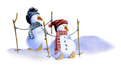 Two cute cartoon skiing snowmen hand drawn in watercolor isolated on a white background. Watercolor illustration. Picture from Snowmen collection.