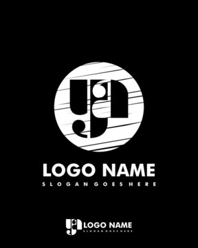 Initial YA negative space logo with circle template
