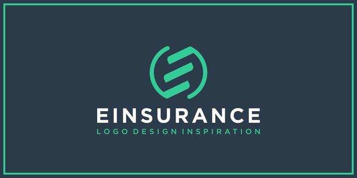 creative design outline letters E,ES,SE circle shape