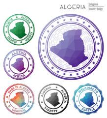 Algeria badge. Colorful polygonal country symbol. Multicolored geometric Algeria logos set. Vector illustration.